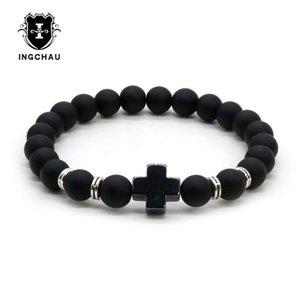 Fashion Natural Stone Hematite Bracelet Christianism Jesus Cross Bracelets For Men women Jewelry Pulseras Hombre 2B-1
