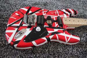Kramer 5150 edward eddie van halen frankenstein preto listra branca vermelho guitarra elétrica pescoço de bordo, floyd rose tremolo trava porca