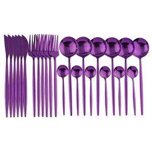 24Pcs Purple Mirror 304 Stainless Steel Dinnerware Set Knife Fork Spoon Tableware Cutlery Set Western Dinner Flatware Silverware T200430