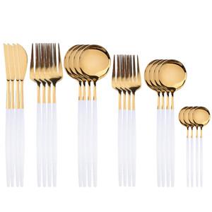 24pcs Gold Gold Cutlery Ensembles Vaisselle de Prestige Vaisselle de Prestige 18/10 Argenterie Silverware Table en acier inoxydable Dîner Couteau Dessert Fourche Spoon Z1123