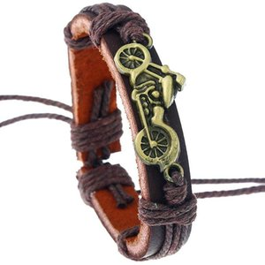 Men Punk Vintage Motorcycle Charm Leather Alloy Biker Rope Chain Bangle Wrap Wristbands Fashion Retro Jewelry Gift