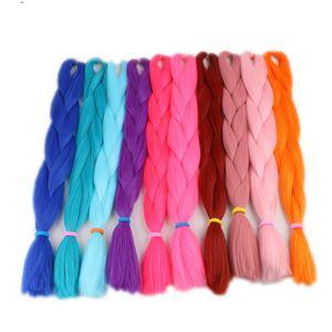 أكثر من 85 لونا بلون الصلبة جامبو تجديل الشعر 24 بوصة الضفائر الاصطناعية الشعر التمديد الشحن مجانا 80 غرام
