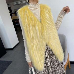 Women 2021 Autumn Winter Fur Vest Coat Faux Fur Warm Coat Vests Female Fashion Casual Warm Coats Jacket Gilet Waistcoat C299