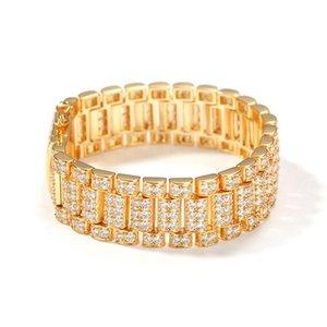 1 Neue Modedesign Hip Hop CZ Stein Bling Euro Out Uhr Armband Armband Armreif Für Männer Charme Schmuck Gold Geschenk