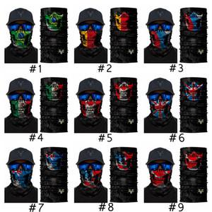 Skull Magic Scarf American Flag Bandana Half Face Mask 25*50cm Canada England Flags Headband Turban Ski Mexico Cycling Mask CYZ2936