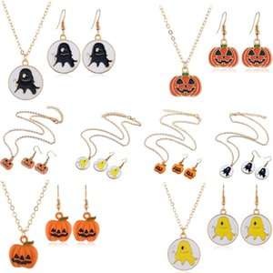 1Set Family Friends Kids Gifts Halloween Necklace Charm Pumpkin Skull Ghost Circle Pendant Charm Women Girls Chain Party Jewelry