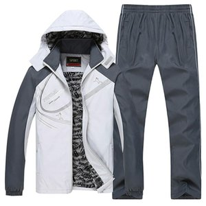Winter Men Set Warm Thick Hooded Jacket+Pants 2PC Sets Men streetwear hop hip Hoodies Zipper Tracksuit Man Sports Suit clothing