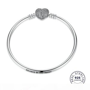 Authentic 925 Sterling Silver Heart Charms Bracelet Fit DIY European Zircon Beads Jewelry Bangle Real silver Bracelet for Women