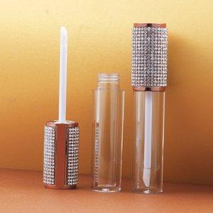Esvaziar Rodada Lip Gloss tubo High Grade Limpar Contentores de plástico diamante Tampa Cap Embalagem Cosméticos Container 10 / 25pcs