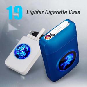 Металлическая сигарета светодиодный корпус с USB аккумуляторной электронный светлый табачный держатель для хранения коробки дуговые зажигалки поддерживают OEM