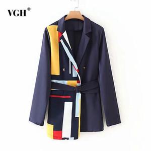 VGH bater cor blazer para mulheres entalhadas manga longa casual Sashes tamanho grande blazers moda nova roupa 2020 moda