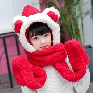 Winter women's imitation hair Plush children's cartoon scarf gloves hat three in one warm bow neck cover