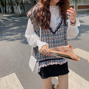 Старинные женские свитера жилет осень повседневная V-образным вырезом кисточка без рукавов вязаные свитера женские свободные свитер Pullover Y201128