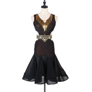 Latin Dance Dress Lady Junior Latin Dance Trajes Mulheres Salsa Tubo Beads Dringlq164