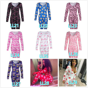Women Jumpsuits Desinger Bodysuit Workout Pyjama Femme Button Skinny Hot Print Long Sleeve V-neck Onesies Women Plus Size Rompers 2021