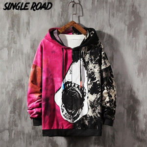 Singleroad Men's Hoodies Oversized Tie Dye Patchwork Shark Harajuku Japanese Streetwear Hip Hop Hoodie Men Sweatshirt Male Y201123