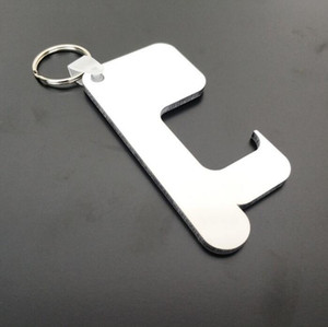 Sublimation Keychain Non-Touch Door Handle Keychain Wooden MDF DIY Blank Key Rings Safety Touchless Door Opener Party favor GGA3813