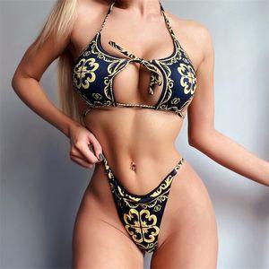 Bandage Swimsuit Mulheres Dois Peça Thong Bikini Mujer 2020 Sexy Hollow Out Imprimir Terno de Banho Mulheres Halter de Verão Biquini