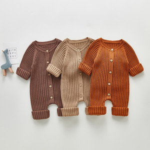 INS New Baby kids knitting romper infant boys girls long sleeve knitted sweater jumpsuit newborn cotton Climb clothes A5381