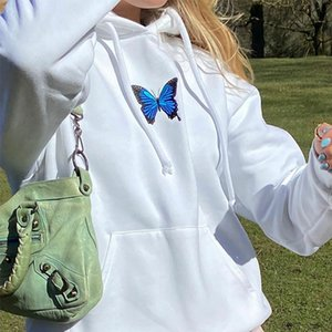 LISM Butterfly Embroidery Sweatshirt Long Sleeve Autumn Winter Cropped Hoodies Streetwear Vintage Sweatshirt Casual Pullovers F1209