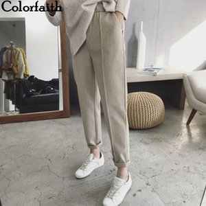 Colorfaith New 2021 Autumn Winter Women Pant High Waist Pocket Korean Minimalist Style Fashion Ankle-Length Casual Pants P936