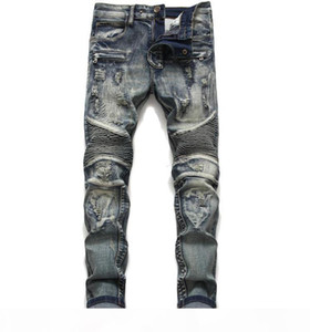 Mens Classic Biker Jeans Male Slim Straight Knee Drape Panel Moto Biker Jeans Destroyed Ripped Stretch Hip Hop Trousers