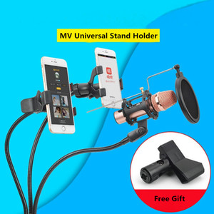 Professional Microphone Stand Mount Phone Holder with Clip for Karaoke MV Android IOS Mobile Phone Universal