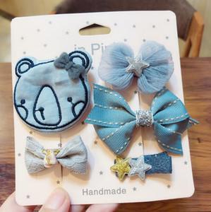 Korea Style High Quality Children Hair Set Accessories Cartoon Bow Star Heart Crown Hairpins Hair Clips 5 Pieces Set Gift Box