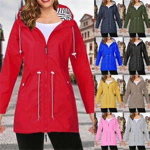 Thin Windproof Long Hooded Winter Jacket Women Gym Running Waist Tightening With Zip Outwear Autumn Sporting Outdoor Coat A1112