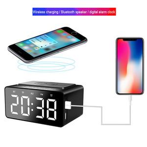 Bluetooth speaker BT508 Modern design digital led alarm clock with wireless charger Household clock Desktop mirror led clock