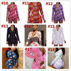 Designer Women Jumpsuit Pajama Onesies Nightwear Playsuit Workout Button Skinny Cartoon Print Pants V-neck Short Onesies Rompers 2021