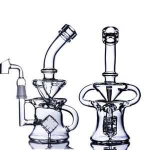 24cm tall Klein Recycler Oil Rigs Thick Glass Water Bongs Smoke Pipe Cigarette Accessory Dab Rigs Bubbler Tobacco Wiith 14mm Banger