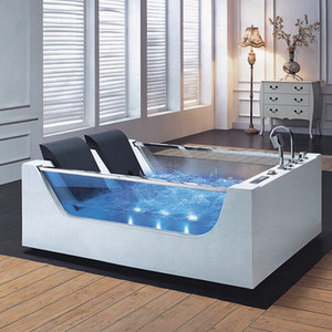 European Style LED Light Whirlpool Bath Tub Portable SPA Massage Bathtub