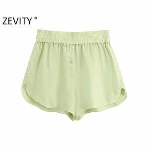 Zevity New women fashion candy color casual Bermuda Shorts ladies summer chic elastic waist hot shorts pantalone cortos P887 Z1205