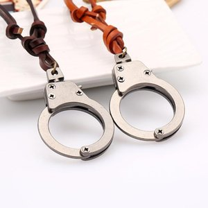 New Fashion Men Women Stainless Steel Handcuffs Pendants Necklaces Genuine Leather Vintage Necklaces For Lovers P40