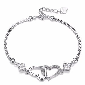 Simple Double Heart Charm Bracelet For Women Love Heart with White Crystal Bracelets Silver Color Metal Fashion Jewelry Gifts