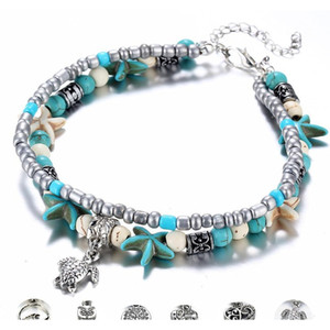 Boho Style Ankle Bracelet Bohemia Sea Turtle Starfish Charms Beach Anklet Shell For Women Handmade Leg Bracelet Jewelry Gojyw