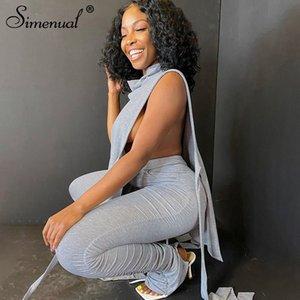 Simenual Rahat Katı Üst ve Yığılmış Pantolon İki Parçalı Set Kadın Kolsuz Yan Bodycon Co-Ord Kıyafetler Moda Sonbahar Q0114 Oymak