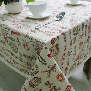 Nordic Christmas Table Cloth Cotton Linen Lace Edging Happy Holiday Kitchen Dining Table Cover Xmas Decor New Year Party