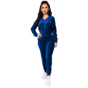 Women Velvet Outfit Women Hoodies Tracksuit Sportwear Set Sweater Top Running Sport Clothing Unit 2 Pieces Jogging Sets Femme Plus Size-5