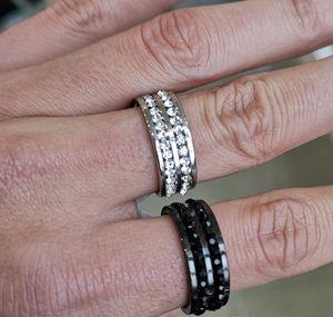 Stainless Ring Elegant Rings Rows Full Jewelry Finger Steel Crystal Wedding Engagement 2 For Love Men Women sqcXx queen66