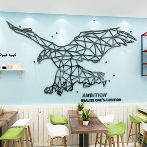 Creative Eagle Acrylic Mirror 3d Wall stickers Office Living room DIY Wall stickers Home decorate Large size