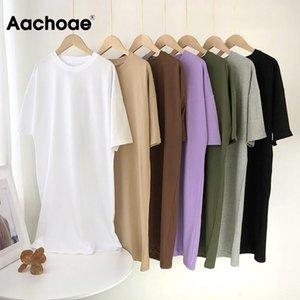 Aachoae Women Casual Loose Solid Cotton T Shirt Dress O Neck Oversize Mini Dress Batwing Short Sleeve Basic Dresses Vestidos
