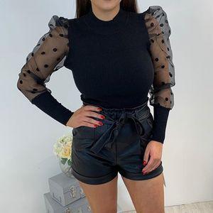 메쉬 패널 Designer Fahion 폴카 도트 인쇄 자연 색상 긴 소매 캐주얼 스웨터 여성 의류