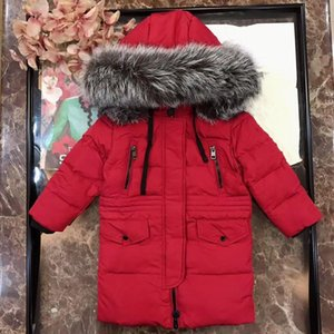 in stock Winter Boys girls long Jackets Child Kids real fur Thick Warm Parkas Hooded Coats Baby Girls Outwear Windbreaker Jackets Clothing