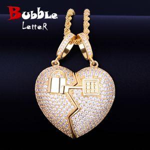 Couple key Heart pendant Pendant Necklace Tennis Chain Gold Color AAA Cubic Zirconia Men's Hip hop Rock Jewelry 5x3.5cm Y1130