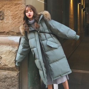 2021 New Womens Mid Long Fur Trim Hooded Quilted Cotton Padded Jackets Puffy Jacket Outerwear Vn1g