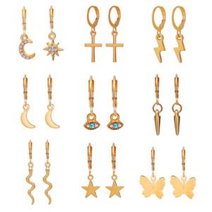9Pairs / set Piccoli orecchini dell'orso dell'oro dell'oro con il fascino-argento mini hanching dangle orecchini con charm- orecchini Huggie Hoop set per ragazze adolescenti
