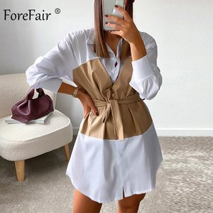 Forefair Pleated Shirt Dress with Corset Sexy Mini Knee Length Patchwork Belt Waisted Autumn Party Women Dress F1130