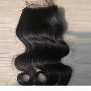 * 4inch vücut Depo Brezilyalı dantel kapatma insan saçı ipek kapak 4 handtied üst kapatma dalga 10-16inch boyanabilen hızlı sevkiyat
